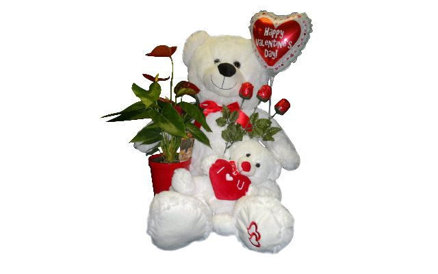 valentine's bear with flowers